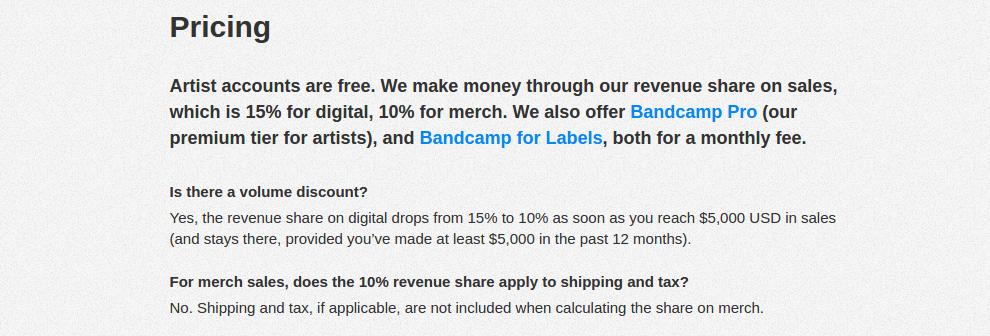 Bandcamp Pricing